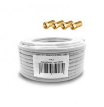 Câble COAXIAL 20m acier en cuivre 4K TV + 4 prise F