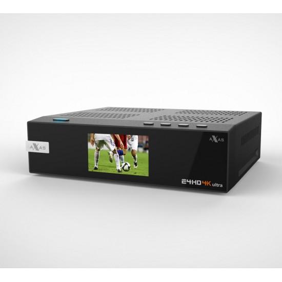 AXAS E4HD 4K ULTRA HD LINUX E2 S2X HDTV SAT IP USB 3 0 WIFI GIGABIT LAN  H265 PIP 1X DVB-S2 TUNER