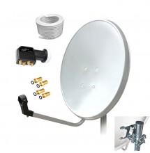 Pack Parabole 80cm HD blanc + quad LNB + câble coaxial 50m + 4x prise F en plaqué or